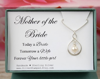 Gift for Mother of the Bride wedding gift silver necklace, wedding party gift, bridal party gift for mom from Bride in a box with card