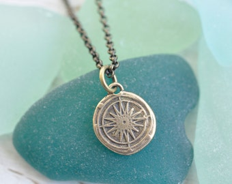 small bronze compass pendant - compass rose wax seal necklace … direction, guidance, navigation - bronze nautical wax seal jewelry