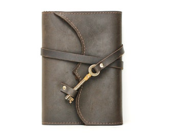 Distressed Brown Leather Book Cover - Leather Notebook