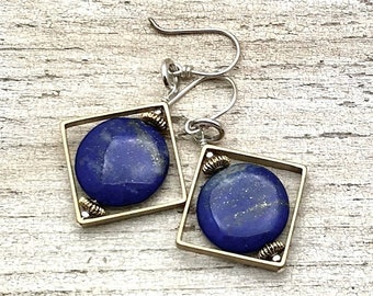Lapis Lazuli Sterling Silver Brass Geometric Dangle Drop Earrings   Minimalist Dark Blue for her Under 80