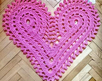 Many colors Love Crochet rug heart  24 in. Perfect Valentine day gift, bed side rug and doily lace.  Floor qality rug