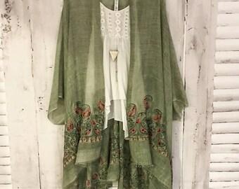 Ivy Kimono - S A G E Boho Kimono Beach Cover Up, Long Kimono Robe, Sheer Kimono, Summer Kimono, Bohemian Print Kimono, Boho Fashion