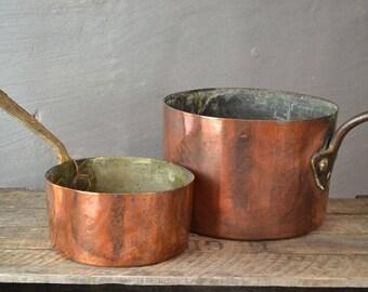 Pair Antique Copper Saucepans