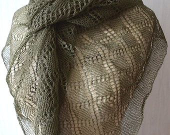 Linen Scarf Shawl Lace Scarf Knitted Natural Summer Wrap Dark Green