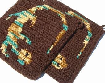 Green and Brown Lizard Potholders, Southwestern, Southwest Home, Kitchen Decor - Crochet, Crocheted Potholders, Pot Holders MADE TO ORDER