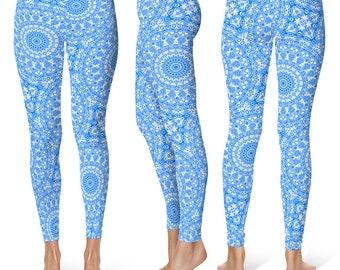 Azure Leggings Yoga Pants, Printed Yoga Tights for Women, Blue and White Mandala Pattern