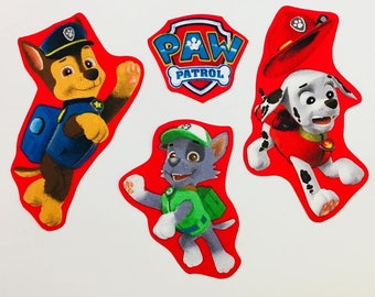 Set of 5 iron on Paw Patrol Fabric Motifs/Patches/Embellishments