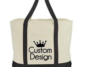 CUSTOM DESIGN- Zippered Tote Bag
