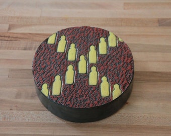 Social Circle - Terra Cotta Red, Black and Mustard Yellow - Wall Hanging - Medium Size