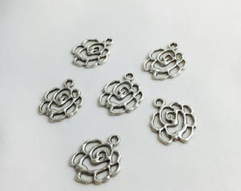 6 charms, rose flower prints - antique silver - 14 x 13 mm
