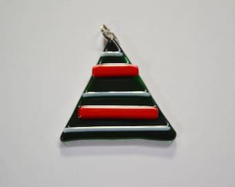 Fused glass christmas tree Pendant.