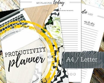 PRODUCTIVITY PLANNER - Printable A4 & Letter planner - incl. 25 printable pages - Mon and Sun start dates and undated - Instant Download