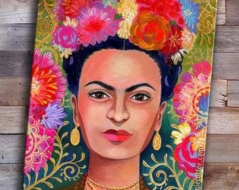 Frida Kahlo PRINT - Frida portrait - Floral headpice - Artist Portrait - Unibrow - Decorative ARt - Kahlo Portrait - female portrait