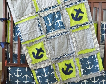Nautical Bedding Crib Set Blue / Gray / Grey Crib Bedding - Anchor Crib Bedding Baby Room Decor - Nautical Baby Quilt, Skirt, Sheet, Bumpers