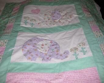 Elephants Applique Baby Quilt