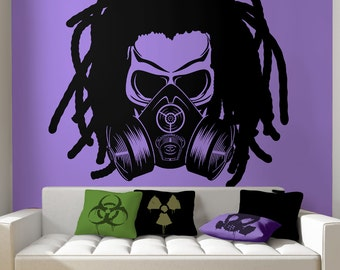 Skull With Dreads Wearing Gas Mask Biohazard Radioactive Cosplay Toxic Rastafarian Hazardous Nuclear Zombie Gothic Wall Decal by Blazing