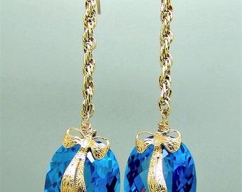 14K London Blue Topaz Briolette Gemstone Victorian Bow Earrings