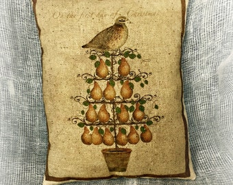 Partridge in a Pear Tree   12 Days of Christmas   Christmas pillow   Christmas Gift   Christmas decor   Stocking stuffer