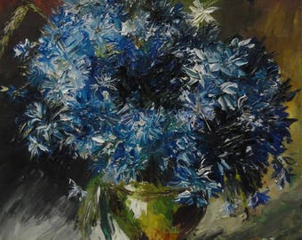 Cornflowers / a copy of a picture / flowers / a picture Levitan / flowers in a vase / oil painting / palette / decor / for an interior