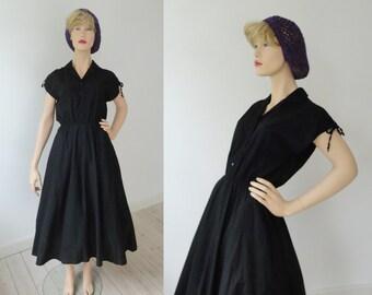Black 80s Goes 50s Vintage Dress // 100% Cotton // Size 40