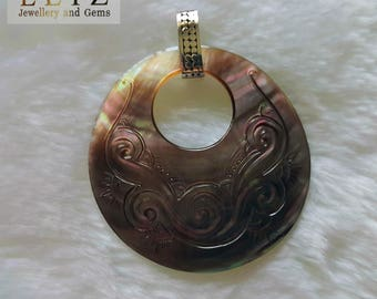 Huge Sterling Silver 925 Mother of Pearl Carved Shell Pendant