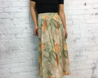 vintage 90s floral skirt with pockets / gauze peach flower print skirt / gauzy painterly pattern skirt with pockets