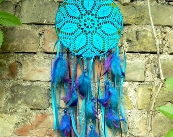 Turquoise crochet lace dreamcatcher Boho wall hanging decor Housewarming gift Blue bohemian doily dream catcher Nursery decoration