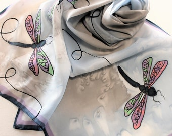 Hand Painted Silk Scarf - Handpainted Scarves Dragonflies Dragonfly Navy Light Blue Purple Grey Gray Green Pink Pastel Spring Summer