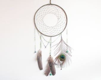 Big dream catcher mobile, blue, green and peacock feather, handmade boho dreamcather