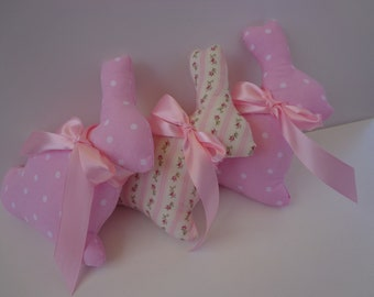 Stuffed Bunnies, Set of 3 Pink and White Bunnies With Pink Satin Ribbons, Easter Decoration, Spring Decoration