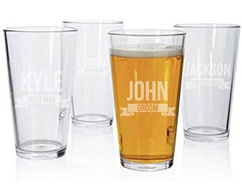 Etched Beer Glass  | Groomsman Gift | Thank You  | Bachelor Party | Groom |  | Bestman |  Personalized  | Pint Glass | Wedding Party