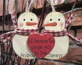 Personalized Snowmen Couple Ornament - All Because Two People Fell in Love
