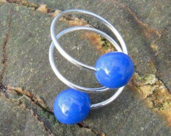 Silver thread ring with polymer clay balls