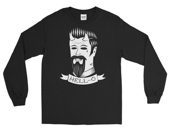 Long Sleeve T-Shirt | Nu goth Traditional Tattoo Devil Hell | Hell-o