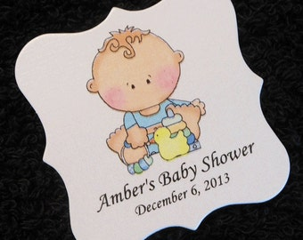 Personalized Baby Shower Favor Tags, baby boy in blue shirt with toys, set of 20