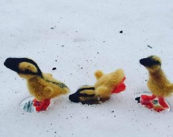Ducks Ducklings needle felted spring ducklings easter ducks miniature ducks easter ducklings cute felt ducklings little ducks going to water