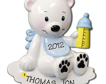 Personalized  Baby's First Christmas Ornament Polar Bear Baby Boy - Newborn, Baby Shower Gift
