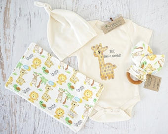 Organic Baby Clothes, Gender Neutral, Baby Accessories, Baby Giraffe, Oh Hello World, Safari, bodysuit, teether toy, wash/burp cloth, cap
