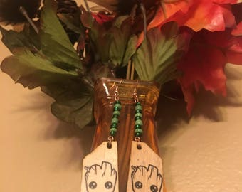 Groot Woodburned Dangle earrings