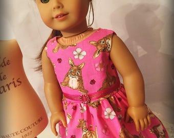 "Bunny Dress for 18"" Dolls like American Girl Dolls Pink"