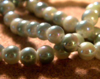 10 pearls 8 mm brass plated - imitation jade 2 beige and khaki PE200-5