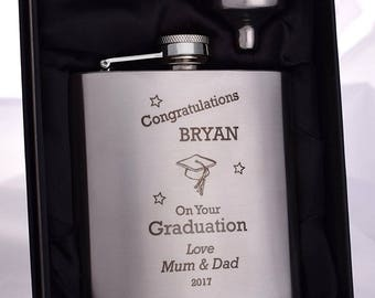 Laser Engraved/Personalised *NEW* GRADUATION Hip Flask in Silk Gift Box