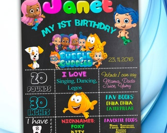 Bubble Guppies  Chalkboard Sign, First Birthday Chalkboard Poster, Bubble Guppies  Birthday Chalkboard Poster, Birthday Poster, Bubble Guppi