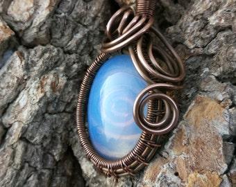 copper pendant with moonstone