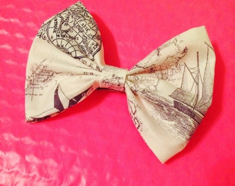 You Are Here! Vintage Map Hair Bow Accessory