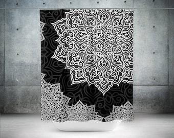 Black and White Shower Curtain,Mandala Curtain,BohoChic,Bohemian Shower Curtain,Shower Curtain,Boho Shower Curtains,Sacred Mandala