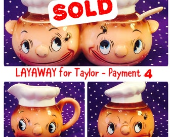LAYAWAY for Taylor - Pmt 4 - Ucagco Fly in my Eye Chef Creamer, Sugar Bowl, Condiment Jars made in Japan circa 1950s