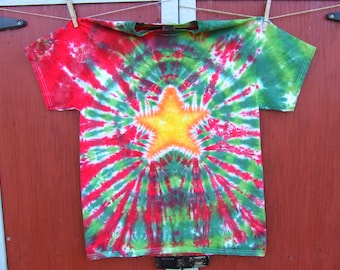 Christmas Dye T-shirt - Made to Order - Star on Red and Green - YOUTH size XS, S, M, L