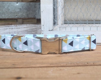 Blue Dog Dog Collar, Geometric Pet Collar, Fall, Baby Blue Dog Collar, Male Dog Collar, Autumn Dog Collar, Silver Metal Buckle