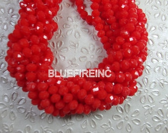 17 inch long Orange Red color 6x8mm Chinese Rondelle beads